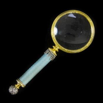 Orosz ezüst nagyító lüszterzománc díszítéssel