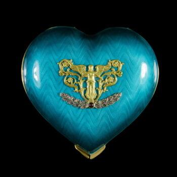 Orosz ezüst szív szelence lüszterzománc díszítéssel