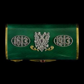 Orosz ezüst szelence zöld lüszterzománc díszítéssel