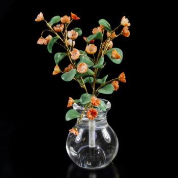Virágcsokor  kristály vázában