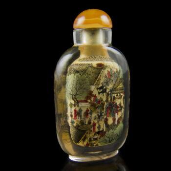 Tubákos flakon belülről festett jelenettel