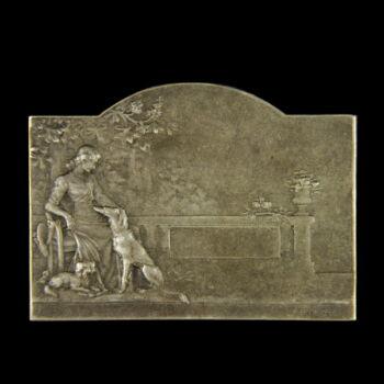 P. Lenoir francia ezüstözött bronz plakett