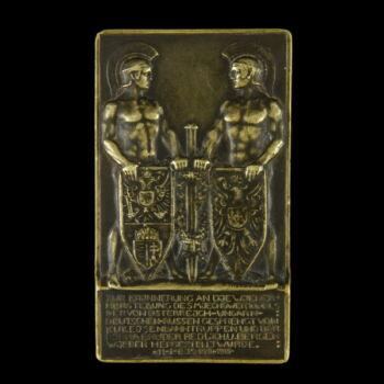 Viribus Unitis bronz plakett a Miechoweri alagút helyreállításának emlékére