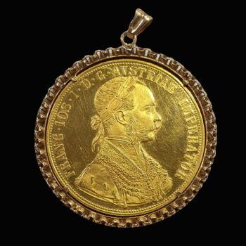 4 Dukát 1915 utánveret érme medál arany keretben