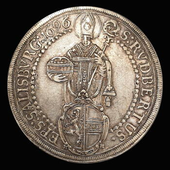 Johann Ernst von Thun und Hohenstein salzburgi érsek ezüst tallér 1696