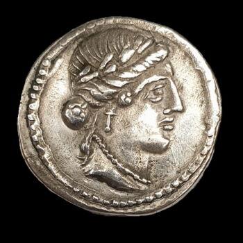Római Köztársaság kori ezüst érme - L. Hostilius Saserna ezüst denár