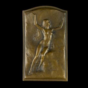 Szecessziós bronz plakett