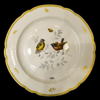 Alt-Wien jelzésű porcelán falitányér madár dekorral