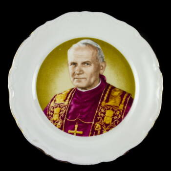 Dísztányér II.János Pál pápa képével