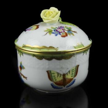 Herendi porcelán Viktória mintás cukortartó