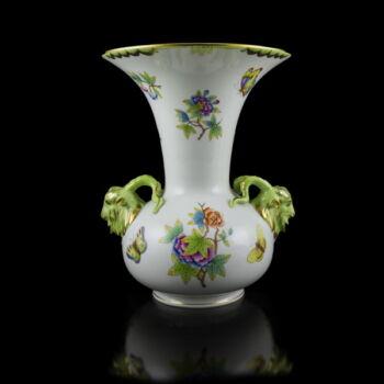Herendi porcelán viktória mintás kosfejes váza