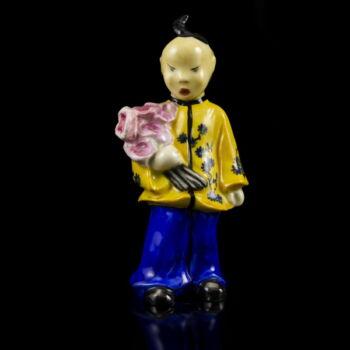Ó Herendi kínai figura virágcsokorral