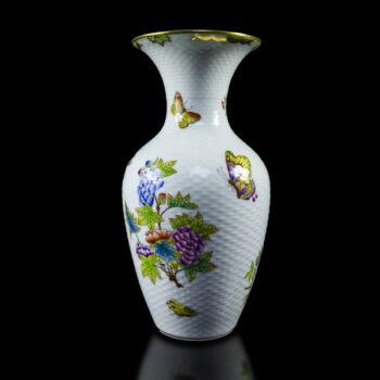 Herendi porcelán Viktória mintás kosárfonott váza