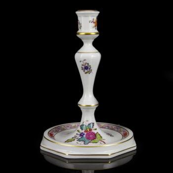 Herendi porcelán Apponyi multicolor mintás gyertyatartó