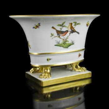 Herendi porcelán Rothschild mintás oroszlánlábas kaspó