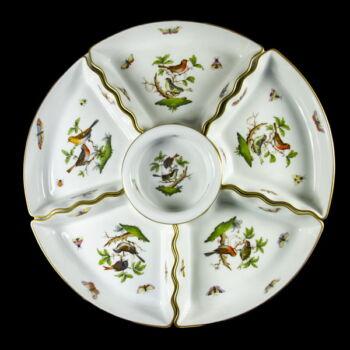 Herendi porcelán Rothschild mintás osztott kínáló