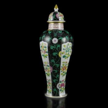 Herendi porcelán Siang Noir mintás fedeles váza