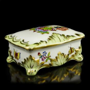 Herendi porcelán Viktória (VBO) mintás fedeles dobozka