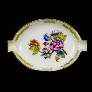 Herendi porcelán Viktória mintás ovális hamutálka