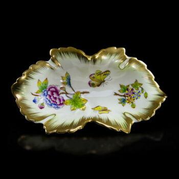 Herendi porcelán Viktória mintás szőlőleveles tálka