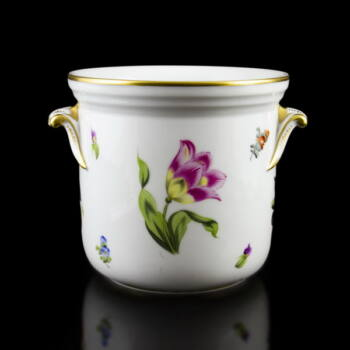 Herendi porcelán gyümölcs és virágmintás kaspó
