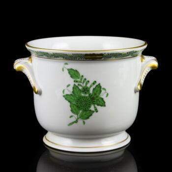 Herendi porcelán zöld Apponyi mintás kaspó