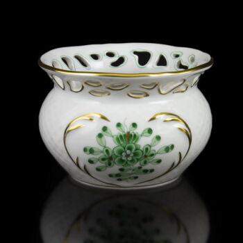 Herendi porcelán zöld Waldstein mintás kiskaspó