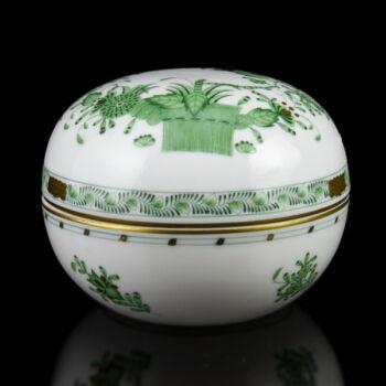 Herendi porcelán zöld indiai kosár mintás fedeles bonbonier