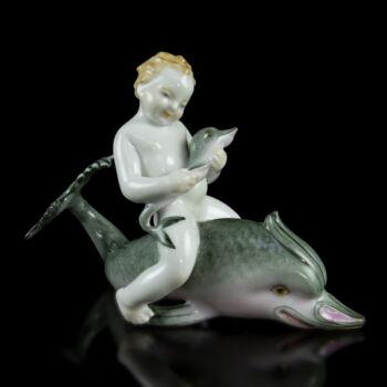 Herendi delfinen lovagló fiúcska figura (1963)