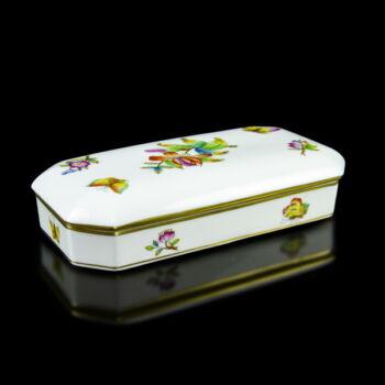 Herendi egyszerű Viktória mintás porcelán doboz