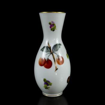 Herendi porcelán váza festett gyümölcsmintával