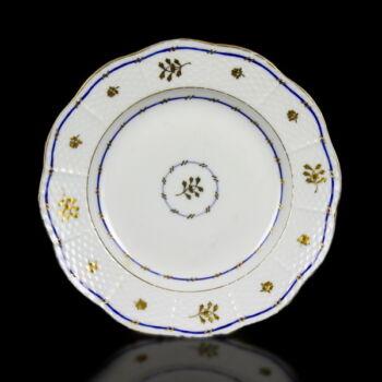 Régi herendi porcelán tányér aranyfestett virágos dekorral