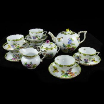 Herendi porcelán Viktória mintás hatszemélyes teáskészlet