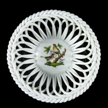 Herendi porcelán Rothschild mintás kosárfonott tálka