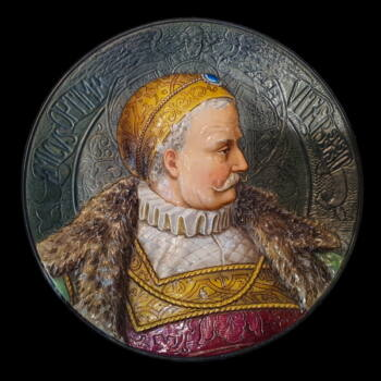Porcelán falitányér főnemes férfi portréjával