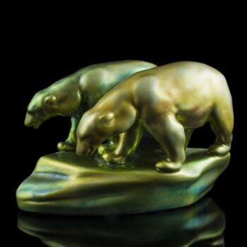 Zsolnay eozin mázas jegesmedve pár