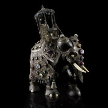 Indiai elefánt figura színes drágakövekkel, ezüst öltözettel