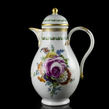 Meisseni (1774-1814) porcelán kávés- teáskanna fedelével