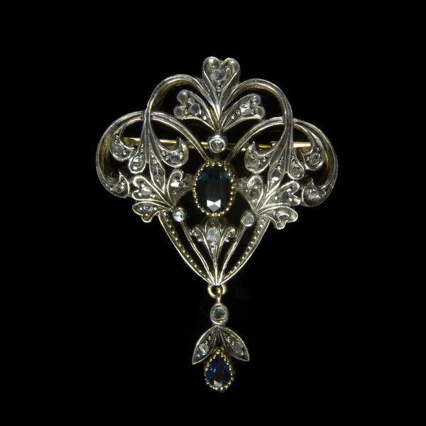 Szecessziós bross zafír és gyémánt kövekkel