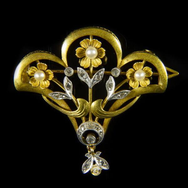 Szecessziós melltű gyémántokkal igazgyöngyökkal