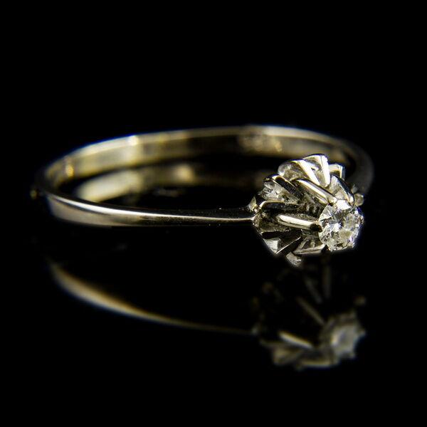 9 karátos fehérarany szoliter gyűrű gyémánt kővel (0.05 ct)