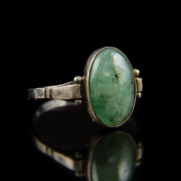Smaragd köves kis ezüst gyűrű