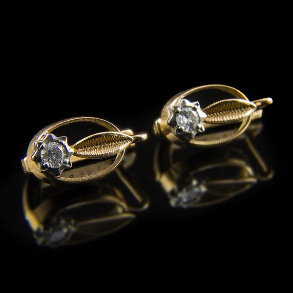 Orosz záras gyémánt köves arany fülbevaló