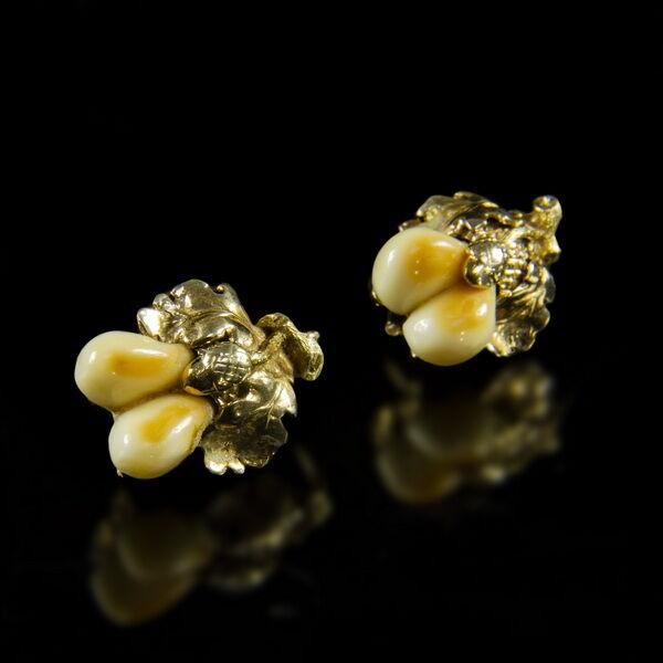 Vadászékszer fülbevaló pár őz fogakkal