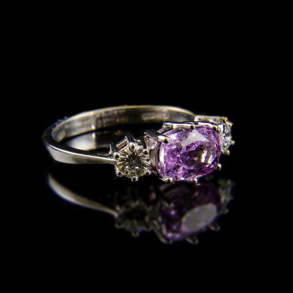 Alliance fazonú brilliáns gyűrű kunzittal
