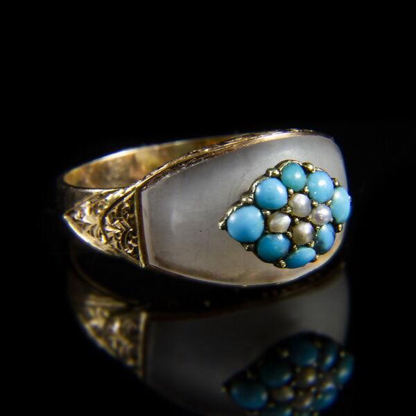 Hegyikristály- türkizgyöngyös arany gyűrű