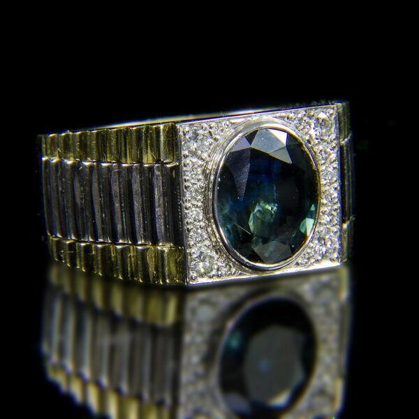 Rolex típusú férfi arany gyűrű zafír és gyémánt kövekkel