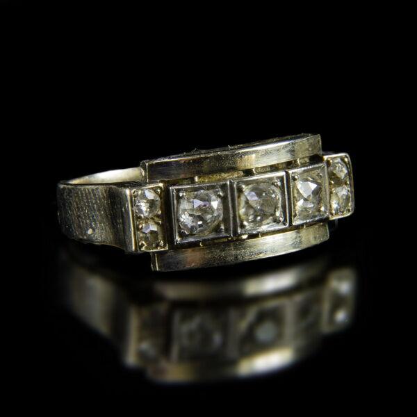 Fehérarany gyémánt köves női art deco gyűrű