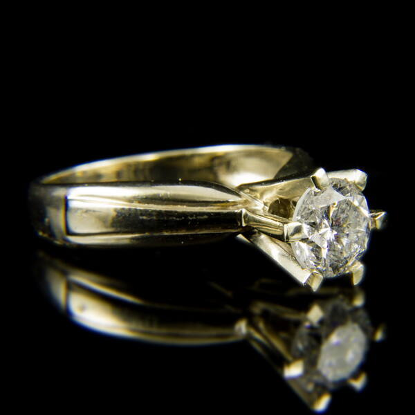14 karátos fehérarany szoliter gyűrű briliáns csiszolású gyémánt kővel (1.43 ct)