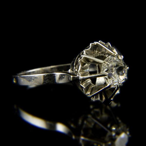18 karátos fehérarany szoliter gyűrű régi csiszolású gyémánt kővel